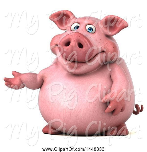 Swine Clipart of 3d Chubby Pig Presenting, on a White Background