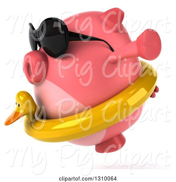 Swine Clipart of 3d Chubby Pig Wearing Sunglasses and a Duck Inner Tube, Facing Left and Jumping