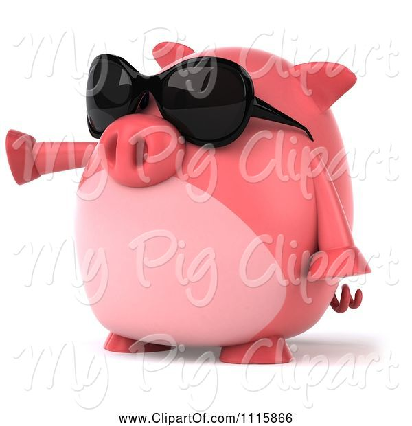 Swine Clipart of 3d Chubby Pig Wearing Sunglasses and Pointing Left