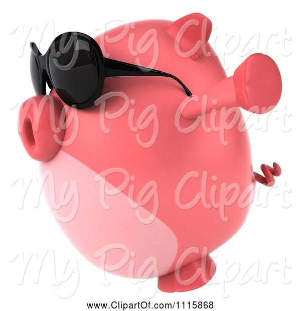 Swine Clipart of 3d Chubby Pig Wearing Sunglasses Jumping and Facing Left