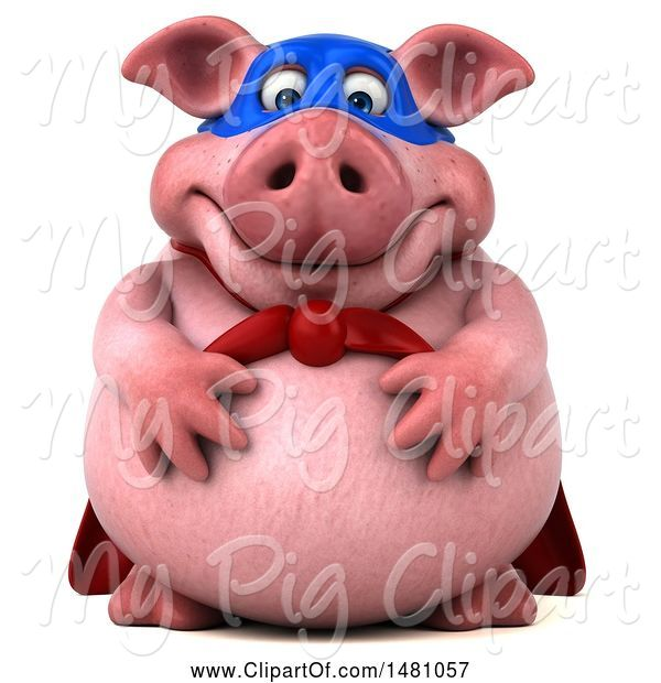 Swine Clipart of 3d Chubby Super Pig, on a White Background