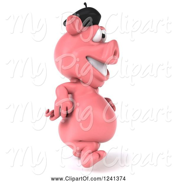 Swine Clipart of 3d French Pig Walking 2