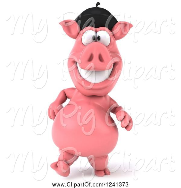 Swine Clipart of 3d French Pig Walking