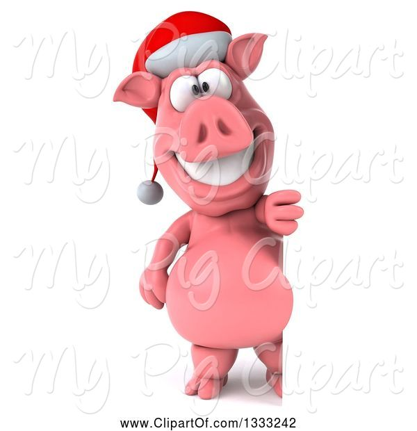 Swine Clipart of 3d Full Length Happy Christmas Pig Wearing a Santa Hat and Standing by a Sign