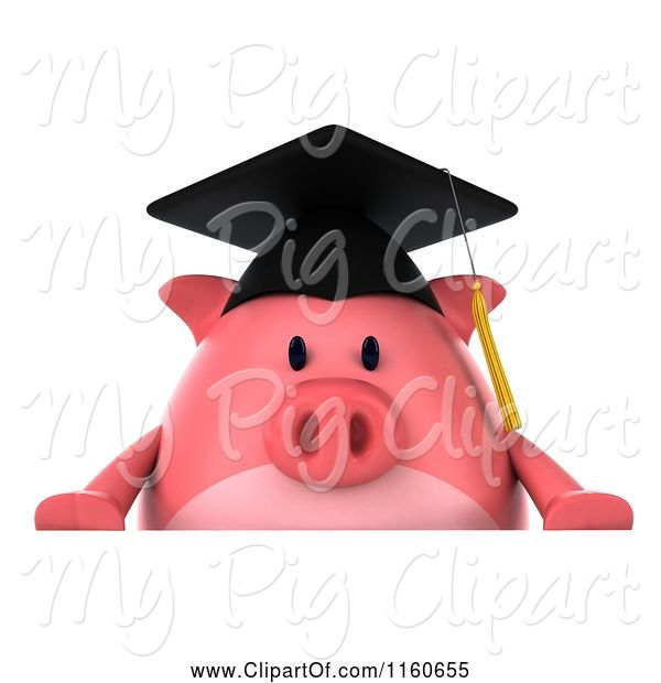 Swine Clipart of 3d Graduation Pig Wearing a Cap and Tassel and Holding a Sign 3