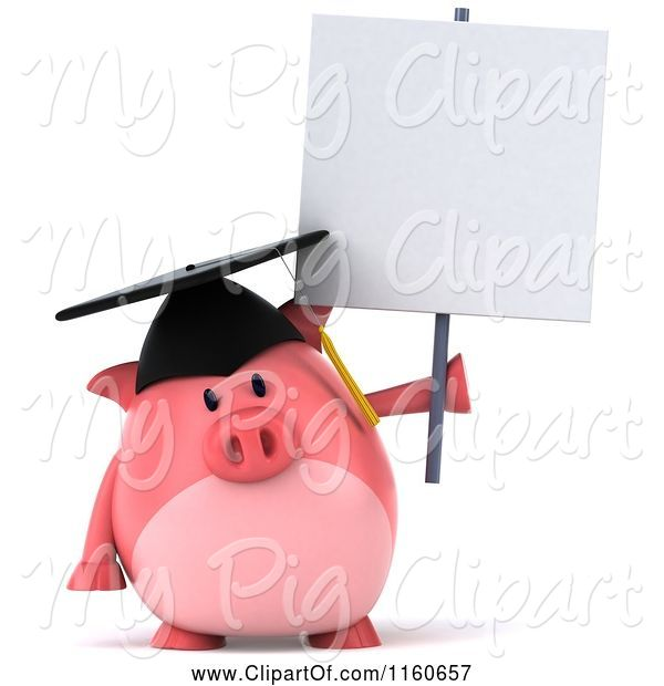 Swine Clipart of 3d Graduation Pig Wearing a Cap and Tassel and Holding a Sign