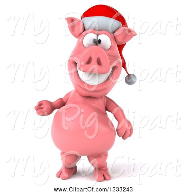 Swine Clipart of 3d Happy Christmas Pig Wearing a Santa Hat and Presenting