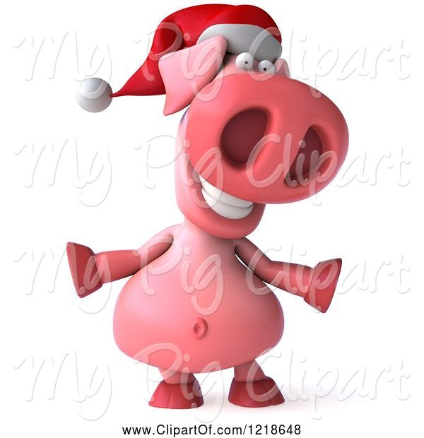 Swine Clipart of 3d Happy Christmas Pookie Pig