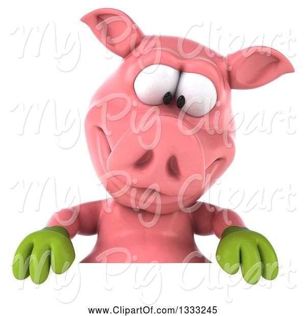 Swine Clipart of 3d Happy Gardener Pig Looking down over a Sign