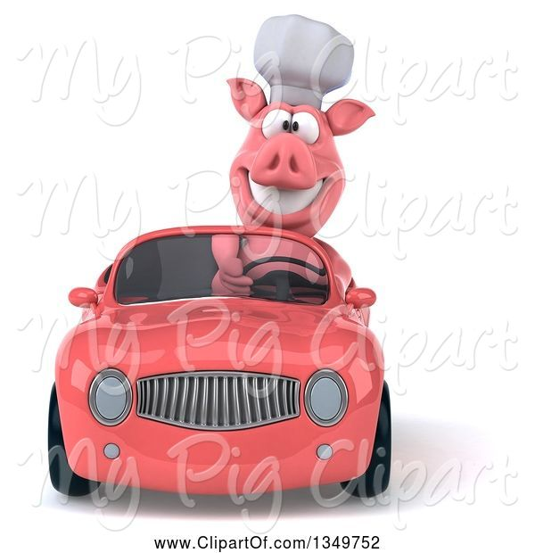 Swine Clipart of 3d Pig Chef Driving a Pink Convertible Car