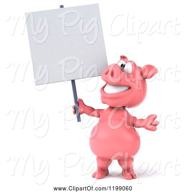 Swine Clipart of 3d Pig Mascot Looking up and Holding a Sign