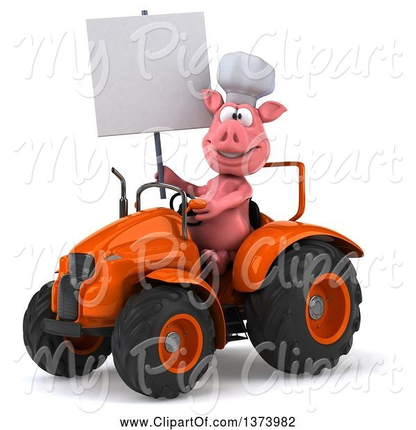 Swine Clipart of 3d Pig Operating a Tractor, on a White Background