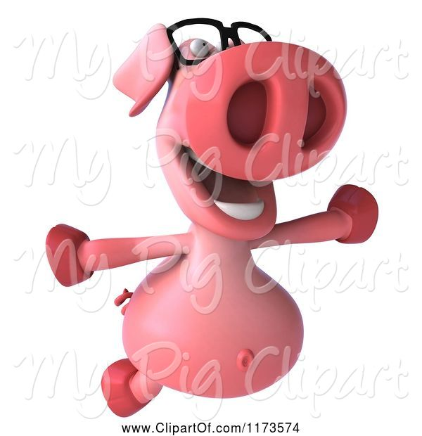 Swine Clipart of 3d Pookie Pig Wearing Glasses and Jumping
