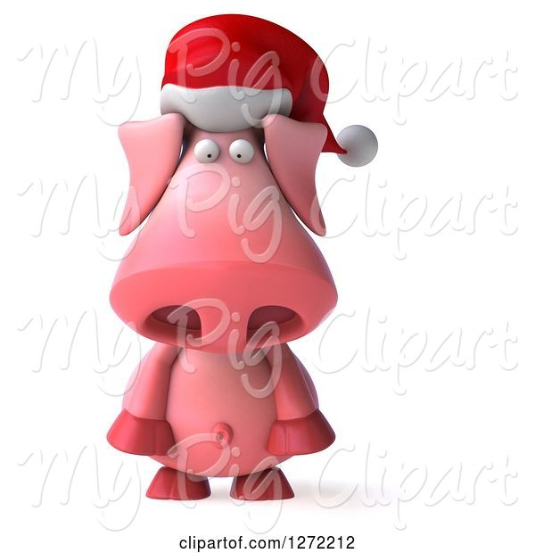 Swine Clipart of 3d Sad Christmas Pig Wearing a Santa Hat and Pouting