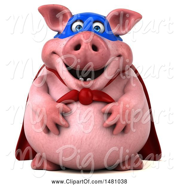 Swine Clipart of 3d Super Chubby Pig, on a White Background