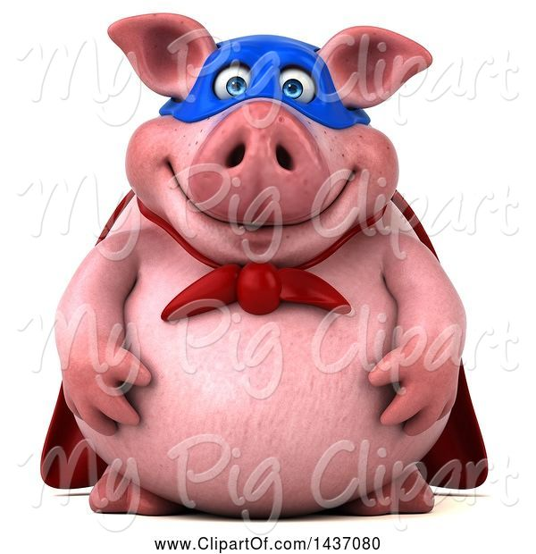 Swine Clipart of 3d Super Hero Chubby Pig, on a White Background