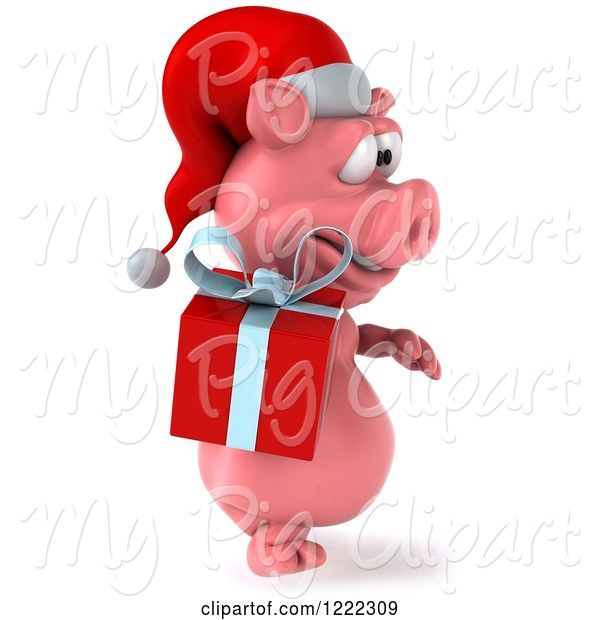 Swine Clipart of 3d Walking Christmas Pig Carrying a Present 4