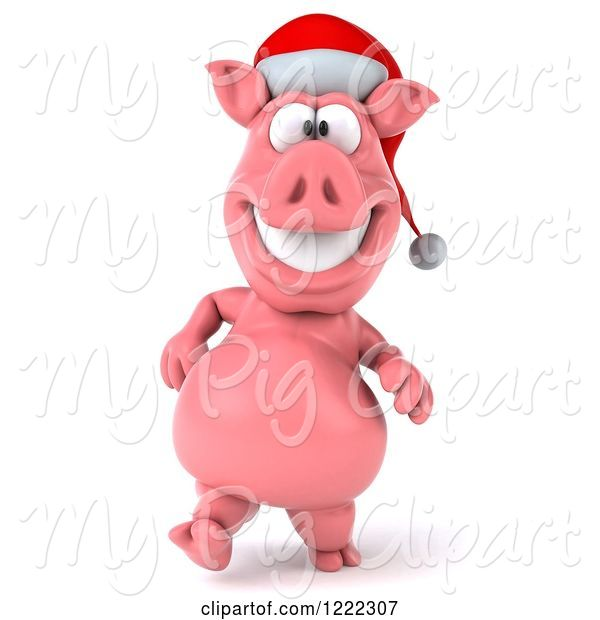 Swine Clipart of 3d Walking Christmas Pig Wearing a Santa Hat