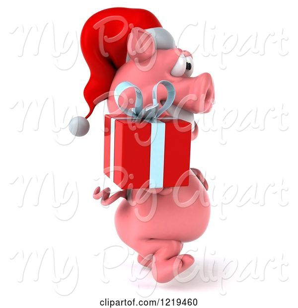 Swine Clipart of 3d Walking Christmas Pookie Pig Carrying a Present 2