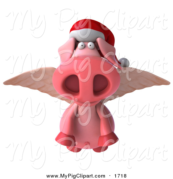 Swine Clipart of a 3d Christmas Winged Pig Flying