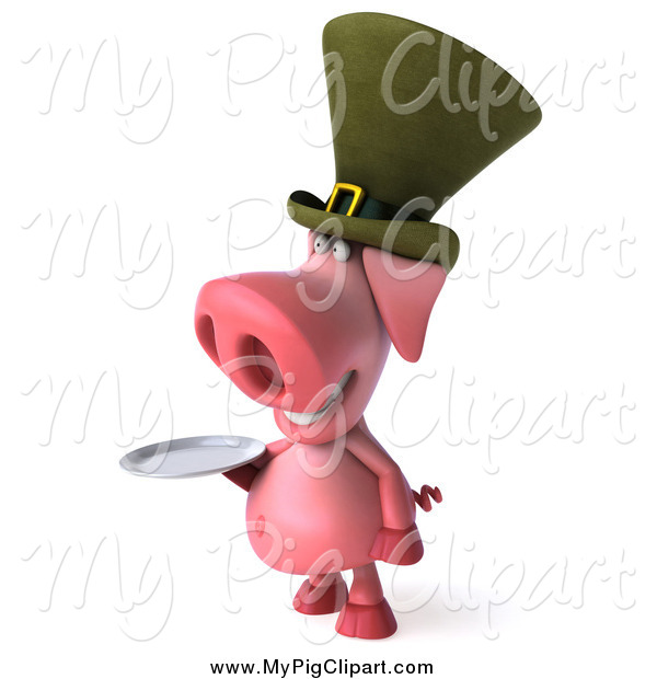 : Swine Clipart of a 3d Irish Pig Wearing a Hat and Holidng a Plate, Facing Left