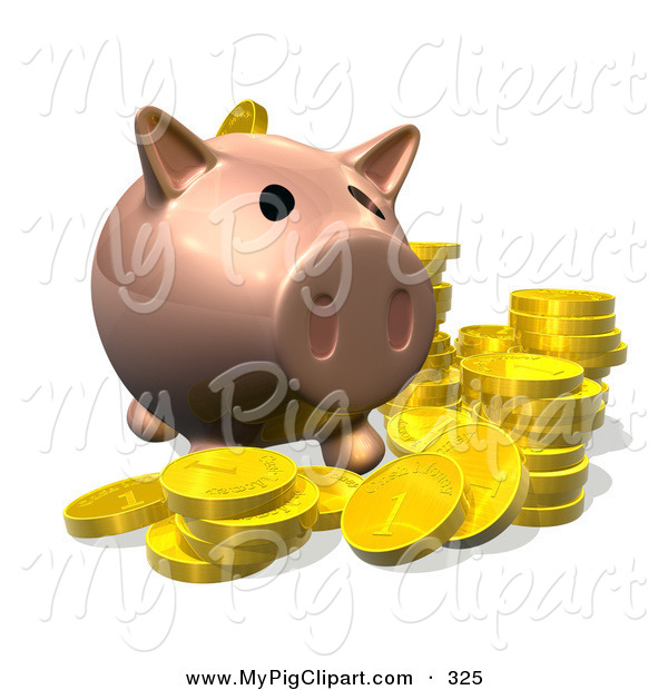 Swine Clipart of a 3d Pig Bank with Golden Goins on White