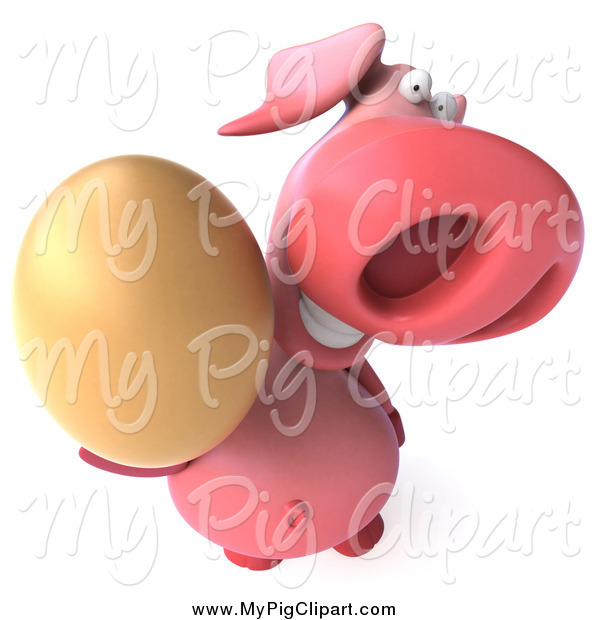 Swine Clipart of a 3d Pig Holding up an Egg