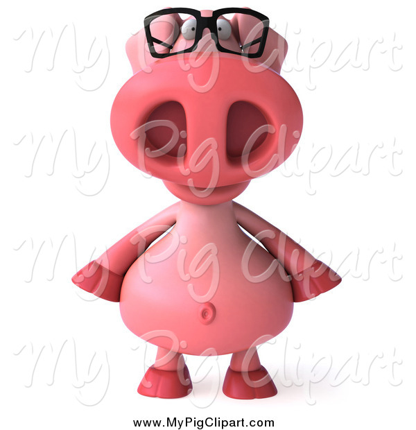 Swine Clipart of a 3d Pig Wearing Glasses