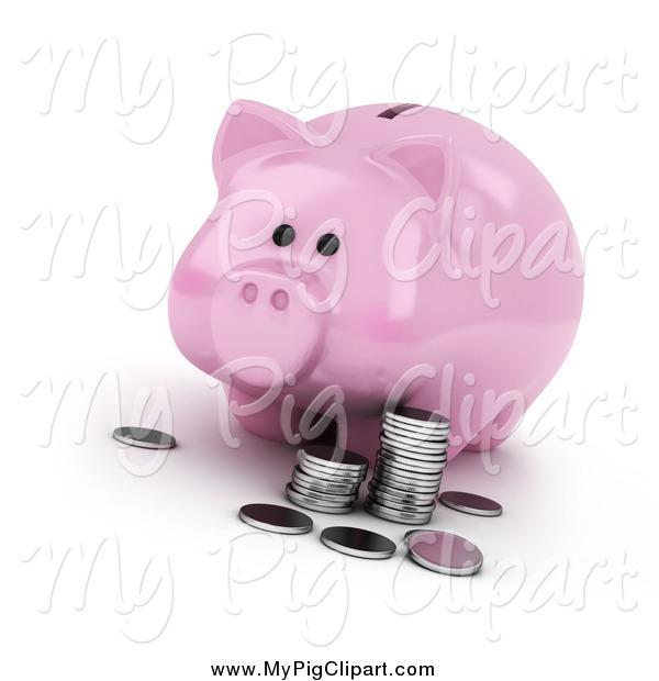 Swine Clipart of a 3d Piggy Bank with Silver Coins