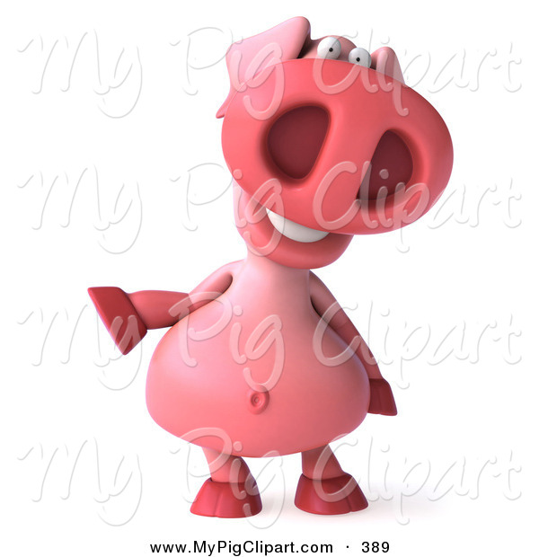 Swine Clipart of a 3d Pookie Pig Character Facing Front and Gesturing Left on White