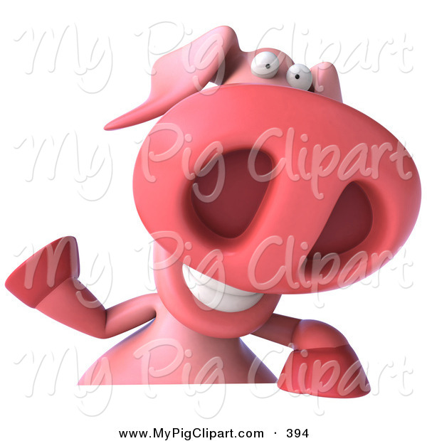 Swine Clipart of a 3d Pookie Pig Character Smiling and Waving at the Viewer While Holding a Blank Sign