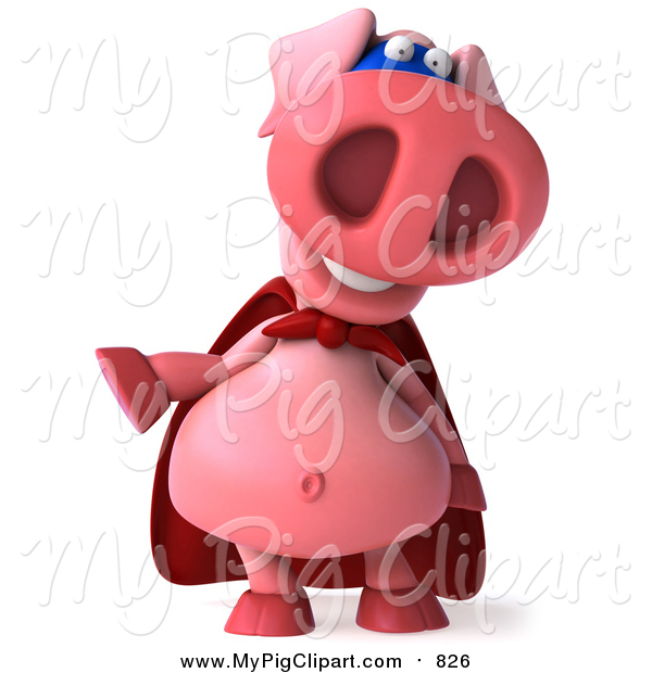 Swine Clipart of a 3d Super Hero Pig Laughing and Gesturing