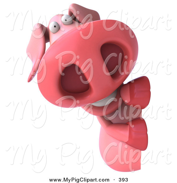 Swine Clipart of a 3d Worried Pookie Pig Character Looking Around a Blank Sign