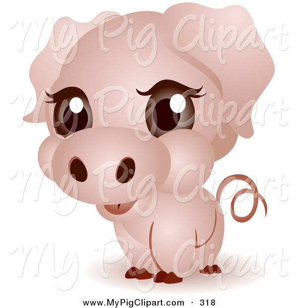 Swine Clipart of a Adorable Big Head Pink Baby Piggy