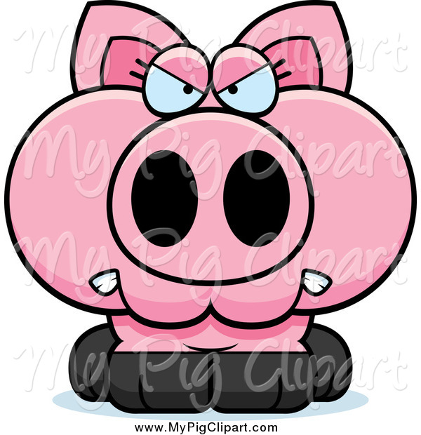Swine Clipart of a Angry Pink Piglet