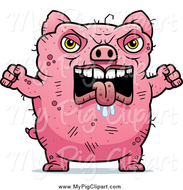 Swine Clipart of a Angry Ugly Pig Holding up Fists