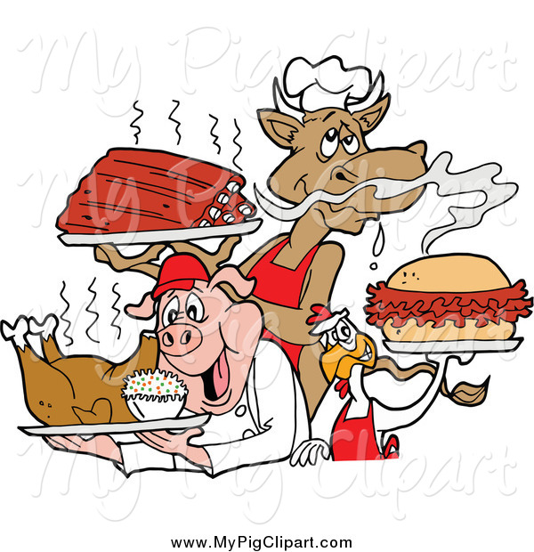 Swine Clipart of a BBQ Cow Holding Ribs, Chicken Carrying a Pulled Pork Sandwich and Pig Carrying a Roasted Chicken