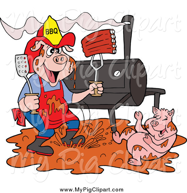 Swine Clipart of a Bbq Pig Firefighter with Ribs, Smoker and Puddle of Mud