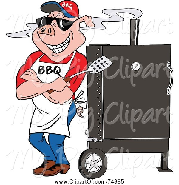 Swine Clipart of a Bbq Pig Standing Against a Smoker Outside
