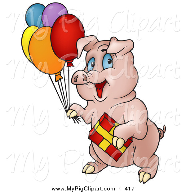 Swine Clipart of a Birthday Pig Carrying Balloons and a Present to a Party