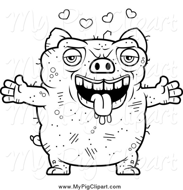 : Swine Clipart of a Black and White Amorous Ugly Pig