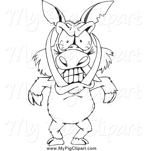 Swine Clipart of a Black and White Angry Boar Standing Upright