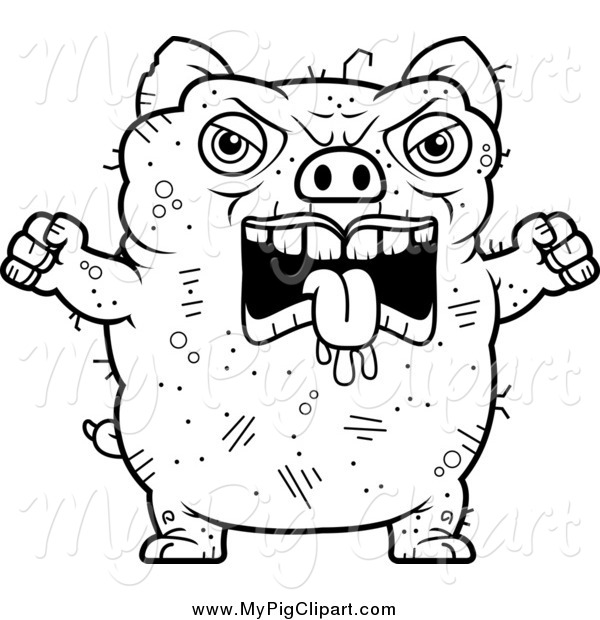 : Swine Clipart of a Black and White Angry Ugly Pig