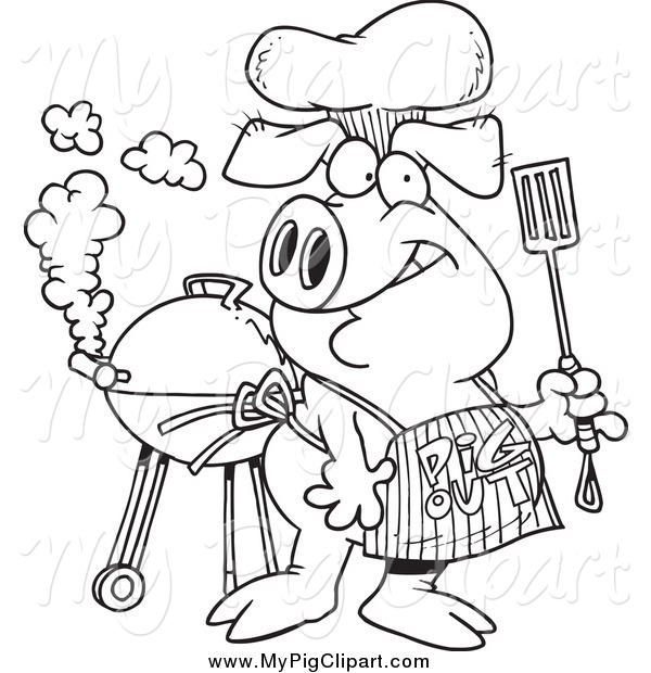 Swine Clipart of a Black and White Bbq Pig Wearing a Pig out Apron