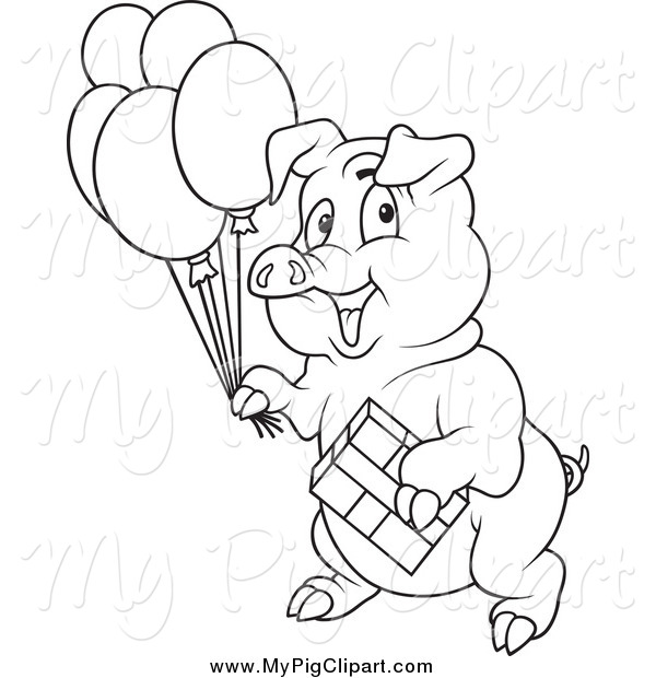 Swine Clipart of a Black and White Birthday Party Pig