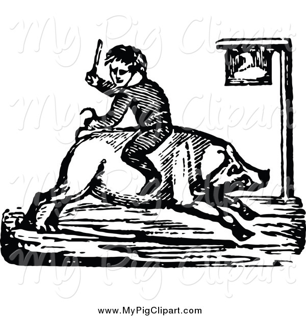 Swine Clipart of a Black and White Boy Riding a Pig Backwards
