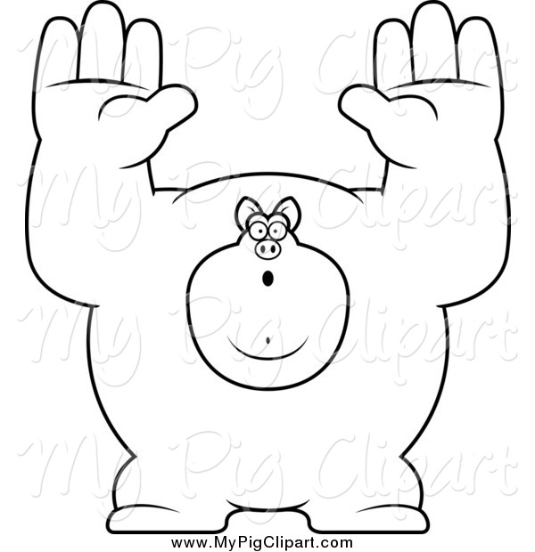 Swine Clipart of a Black and White Buff Pig Giving up