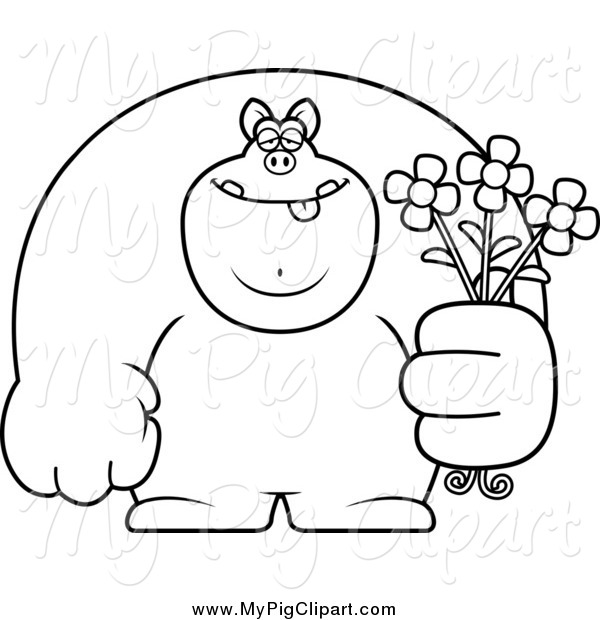 : Swine Clipart of a Black and White Buff Pig Holding Flowers