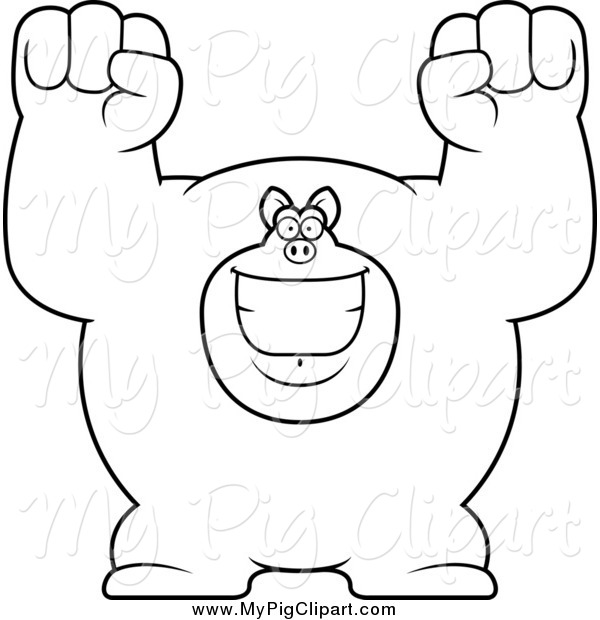 Swine Clipart of a Black and White Cheering Buff Pig
