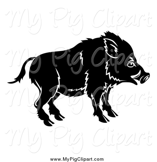 Swine Clipart of a Black and White Chinese Zodiac Boar